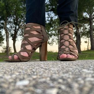 Bamboo Strappy Heels Size 7.5
